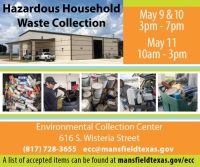Mansfield Hazardous Household Waste Drop off -  3:00pm - 7:00pm